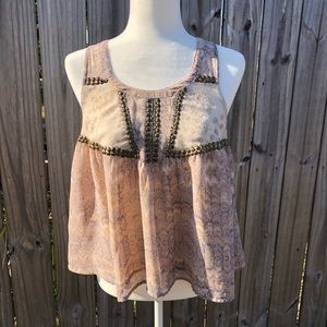 Ecote Sheer Boho Crop Top with Studded Accents